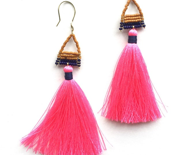 Pipsan Hot Pink Tassel Earrings