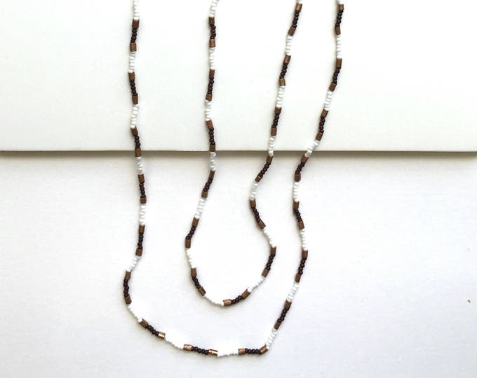 Copper Spotted Seed Bead Necklace