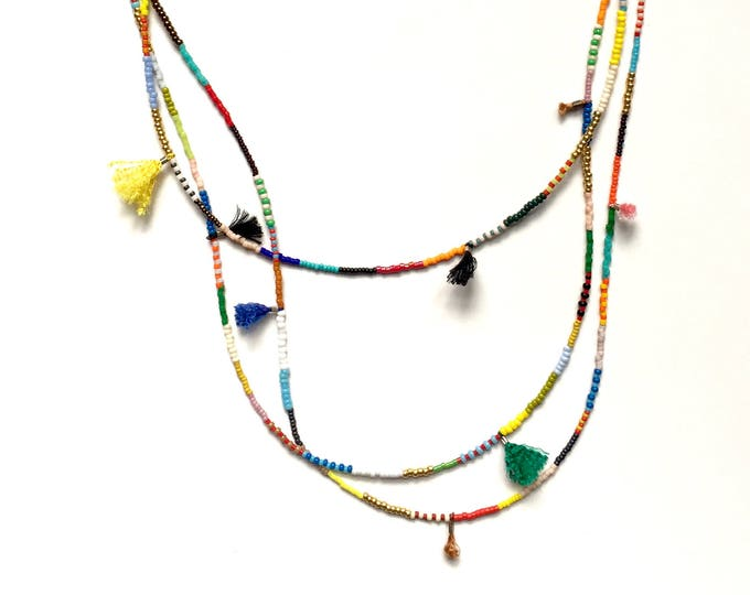 Triple Primary Multi Tassel Necklace