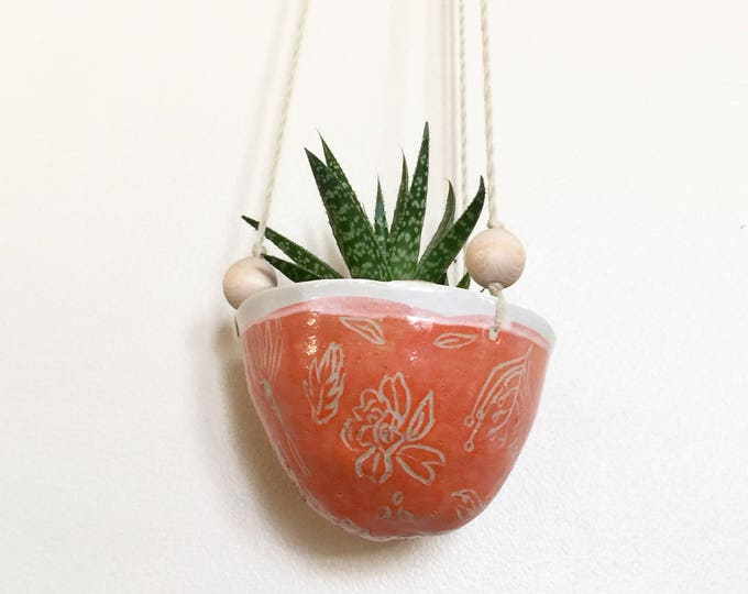 Tangerine Carved Ceramic Hanging Planter