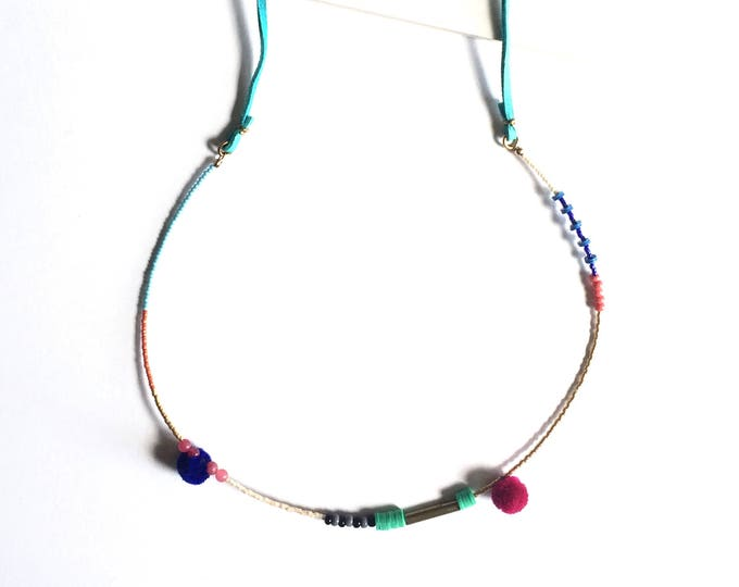 Jane Necklace with Adjustable Turquoise Suede Cord and Pom Pom Accents