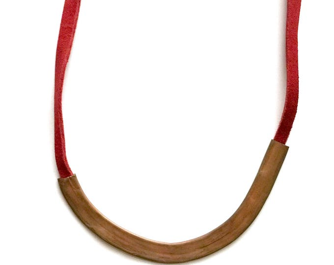 Cardinal Copper + Leather Necklace