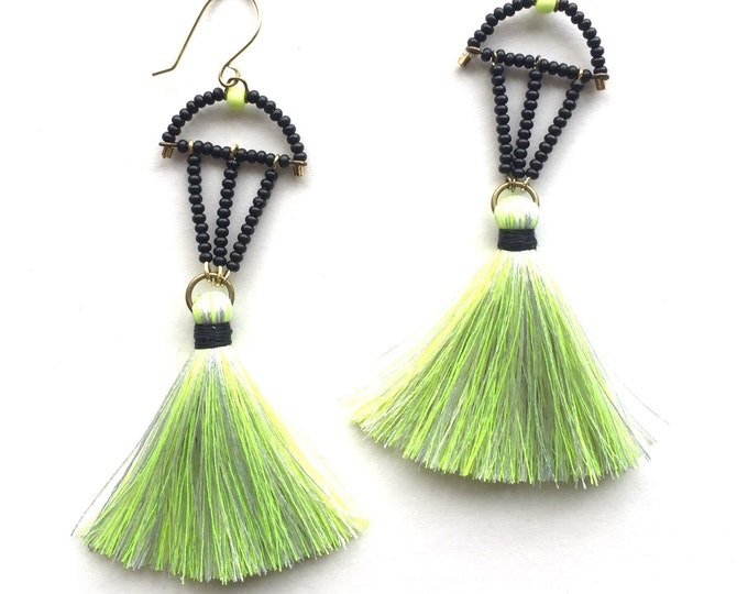 Neon Yellow Tassel Earrings with Beaded Accent