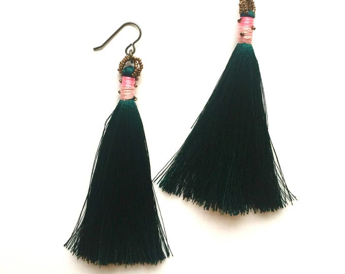 Emerald Cosmos Tassel Earrings
