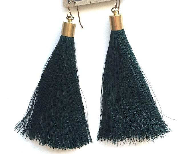 Emerald Long Tassel Earrings