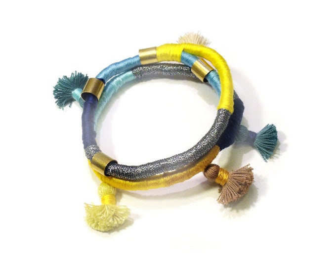Blue Yellow Wrapped Rope Bangle Bracelet