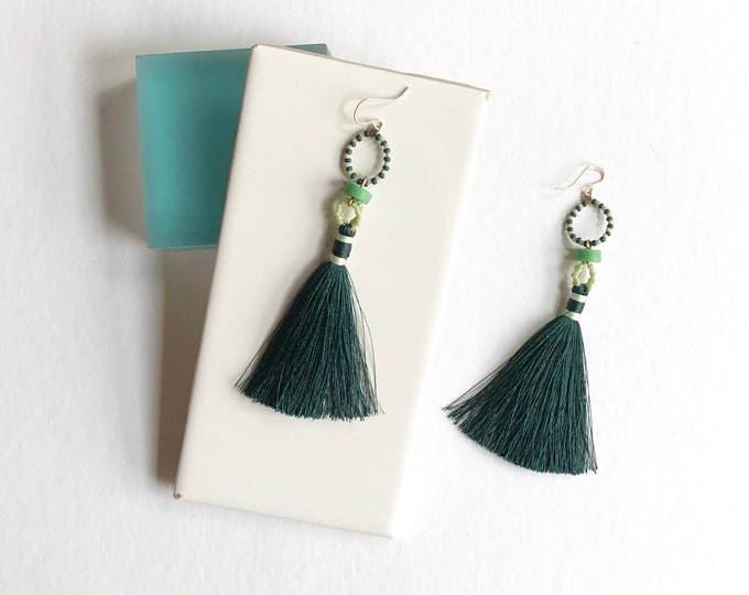 Emerald Beaded Tassel Earrings