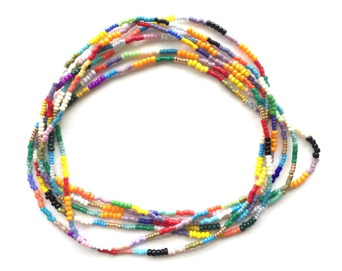 Patchwork Double Strand Seed Bead Necklace