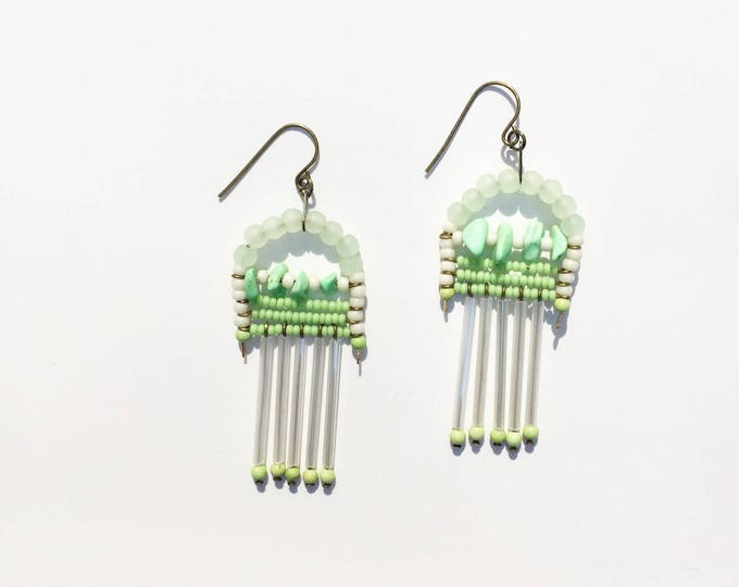 Clover Beaded Fringe Earrings