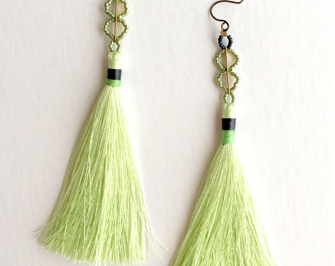 Mint Tassel Earrings With Beaded Accent