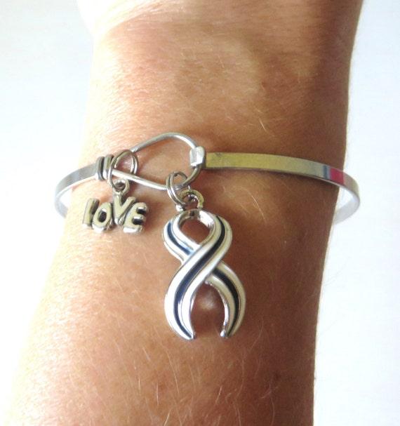 ALS Lou Gehrigs Disease Hand Stamped Awareness LOVE Charm Bracelet