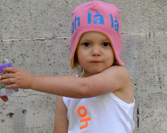 Oh La La Baby Hat /Kids Hat - Upcycled Aviator Hat / Bomber Hat, Reversible Hat