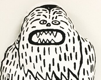 Screen Printed Sasquatch/ Big Foot/ Chewbacca pillow, Stuffie, Children Kid Graphic Design Pillow, Eco Friendly Plush