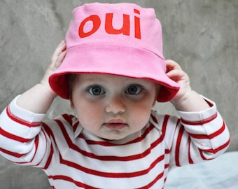 Oui - Upcycled Sun Hat / Bucket Hat, Reversible Sun Hat, Baby Sun Hat