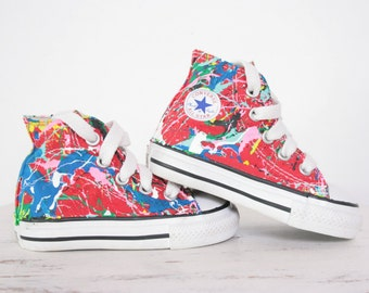 2e05c8104341 Kid s LowTop or HighTop Splatter Painted Converse or Vans Sneakers Size  10.5-3