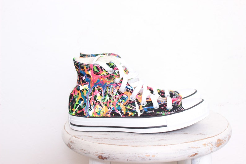 9a8b9c3988c5b4 Adult Black High Top Splatter Painted Converse Sneakers Adult