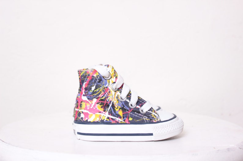 14ca9b25129ae Baby Navy Blue High Top Splatter Painted Converse Sneakers Baby Size 2,  Neon Sign Colors