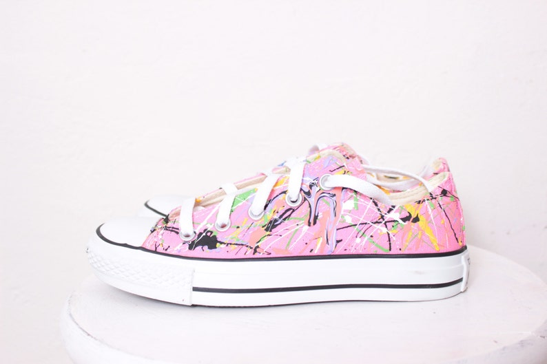 42642d98adc7 Adult Pink Low Top Splatter Painted Converse Sneakers Adult