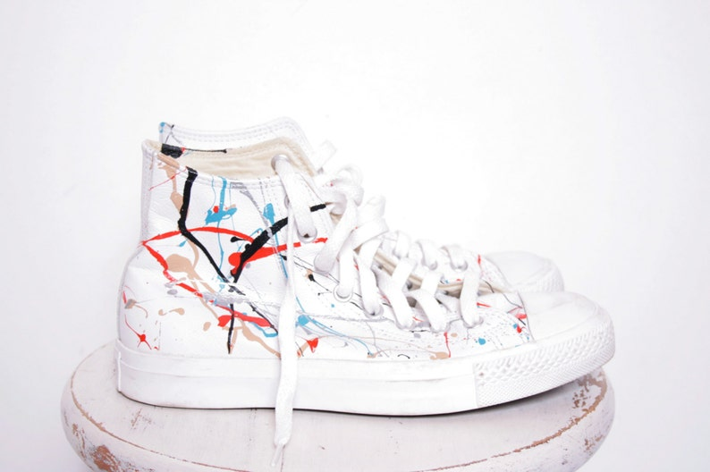 cd59a4a74c24 Custom Made Splatter Painted Vintage White Leather HighTop