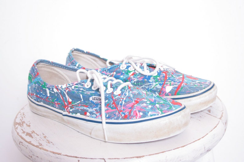 f562c45e7c Custom Made Splatter Painted Vintage Vans Boat Shoe Sneakers