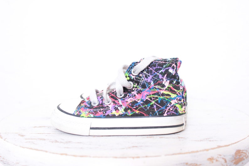 7b1cafb11d99 Used Toddler Black High Top Splatter Painted Converse Sneakers