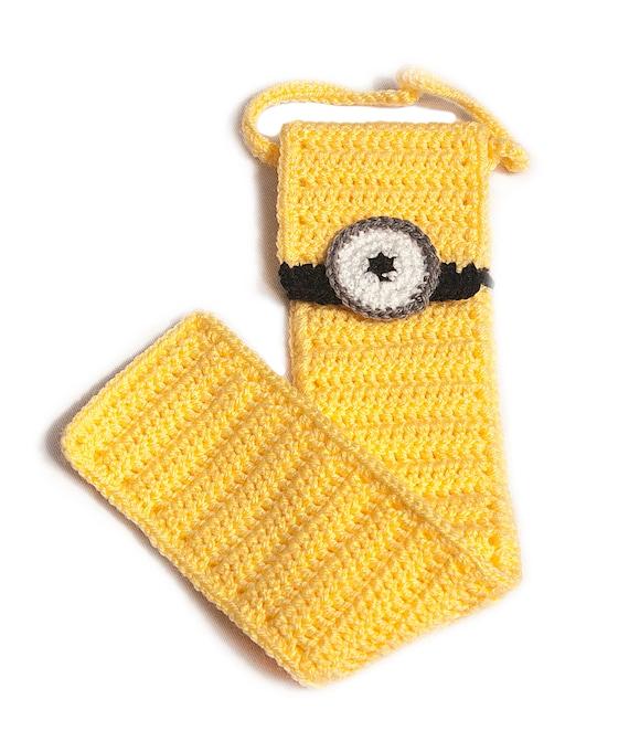 Retour à l'école enregistreur affaire, fait à la main au Crochet, coup de sifflet cas, enregistreur sac Minion inspiré cas