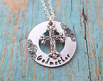 Godmother Necklace - Godmother - God - God Mother - Gift for Godmother - Religious Jewelry - Cross Necklace - Baptism - Christening -Nina