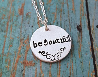 Be-you-tiful Necklace - Be-you-tiful - Inspirational Necklace - Beautiful - Necklace - Confident Woman - Women's Jewelry - Hand Stamped