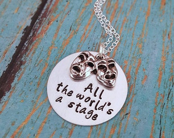 All the World's a Stage Necklace - Drama Necklace - Drama - Drama Club - Theater - Performing Arts - Comedy Tragedy Charm - Gift for Girls