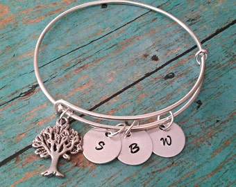 Personalized Family Tree Bangle Bracelet -  Expandable Bangle Bracelet - Mothers Jewelry - Hand Stamped Jewelry - Mothers Day - Gift for Mom