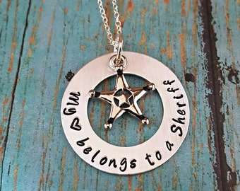 Deputy Sheriff Necklace - Sheriff - My Heart Belongs to a Sheriff - Sheriff Wife -Gift for Sheriff Wife -Gift for Sheriff Girlfriend- Deputy