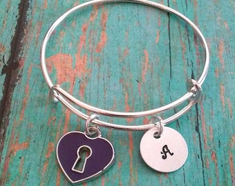ON SALE !! Child's Expandable Bangle Bracelet -Key to my Heart -Personalized-Gift for Little Girls-Little Girl Gift-Birthday Gift for a Girl