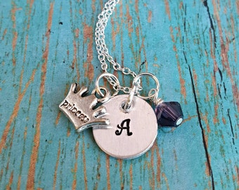 Princess Necklace - Initial Necklace - Personalized Necklace - Princess Jewelry - Crown Necklace - Princess - Gift for Girls -Girls Necklace
