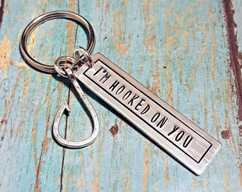 I'm Hooked on You - Hooked - Keychain - Couples Keychain- Fish - Hook - Boyfriend Gift - Girlfriend Gift - Husband Gift - Wife Gift - Love