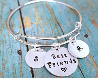 Best Friends Bangle Bracelet - Friendship Bracelet - Best Friends - BFF - Best Friends Jewelry - Jewelry for Girls - Expandable Bangle