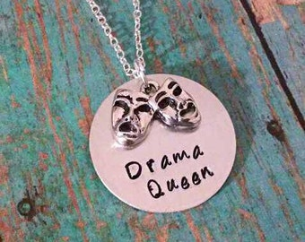 Drama Queen Necklace - Drama Necklace - Drama - Drama Club - Theater - Performing Arts - Comedy Tragedy Charm - Gift for Girls