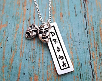 Drama - Drama Necklace - Gift for Drama - Drama Club - Actor - Actress - Theater - Performing Arts - Comedy Tragedy Charm - Gift for Girls