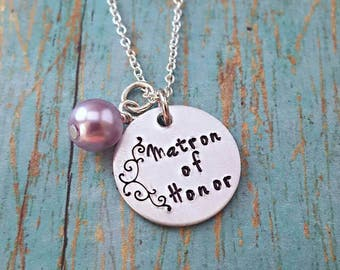 Matron of Honor - Matron of Honor Necklace - Wedding Jewelry - Matron of Honor Gift - Wedding Party - Gift for Matron of Honor - Wedding