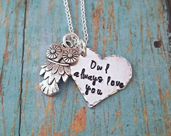 Owl Always Love You - Love - Love You - I'll Always Love You -Owl Jewelry - Heart Necklace - Couples Jewelry - Gift for Girls - Gift for Her