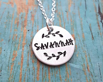 Personalized Name Necklace - Personalized Necklace - Name Necklace - Personalized Jewelry -Name Jewelry -Handstamped - Gift for Her