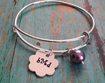 Monogram Initial Bangle Bracelet - Flower Bracelet - Personalized Jewelry - Charm Bracelet - Children's Jewelry - Gift for Girls