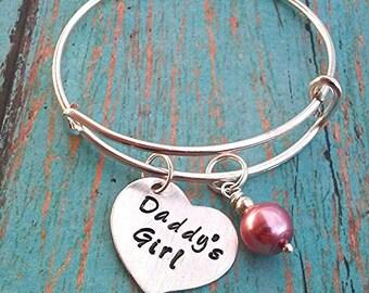 Child's Expandable Bangle Bracelet - Daddy's Girl - Heart Charm - Gift for Little Girls - Little Girl Gift - Birthday Gift for a Girl