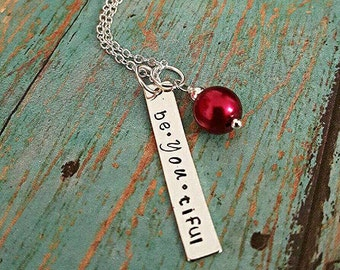 Be-you-tiful - Inspirational Necklace - Rectangle Necklace - Confident Woman - Women's Jewelry - Hand Stamped Necklace - Bead Necklace