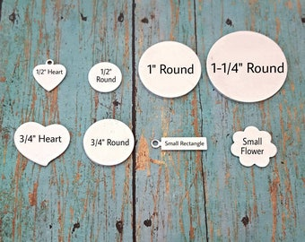 Add-on disc - Initial Tag - Aluminum Blank - Aluminum disc - Round Disc - Heart Blank - Handstamped Blank