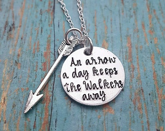 Zombie Arrow Necklace - Zombie Necklace - Walkers - Arrow - Necklace - Zombie Apocalypse - Zombie Lover - Hand Stamped- Zombie Buddy- Walker