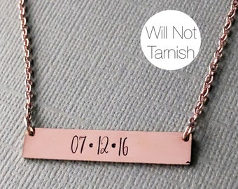 ROSE GOLD Bar Necklace Custom Date Necklace Wedding Gift Hand Stamped Necklace Rose Gold Necklace Personalized Gift Gift Idea for Wife Mom