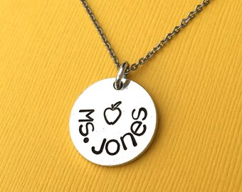 Personalized Teacher Necklace, Hand Stamped Jewelry, Teacher Appreciation Gift, Apple Necklace, Thank You Gift, Name Necklace, Teacher Gift