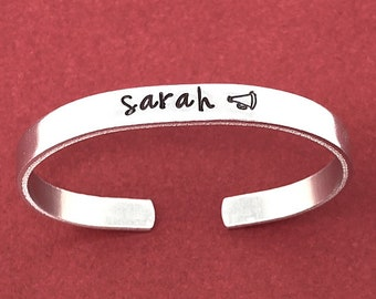 Personalized Gift, Cheerleader Jewelry, Hand Stamped Bracelet, Name Bracelet, Skinny Cuff Bracelet, Cheer Gifts, Megaphone Jewelry, For Her