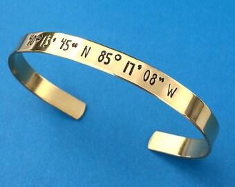 Personalized Bracelet, Custom Coordinates Bracelet, {BRASS} Hand Stamped Cuff, Friend Gift, Sister Gift, Wedding Gift, Big Little Sorority