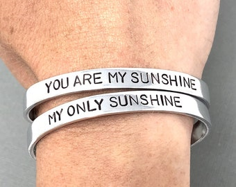 SET OF 2 You Are My Sunshine My Only Sunshine Bracelet, Mother Daughter Jewelry, Hand Stamped Bracelet, Mothers Day Gift, Mom Gift For Her